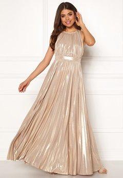 Goddiva Pleated Metallic Dress Gold Bubbleroom.fi