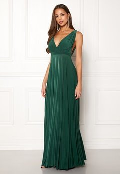 Goddiva Pleated Oscar Maxi Dress Green Bubbleroom.fi