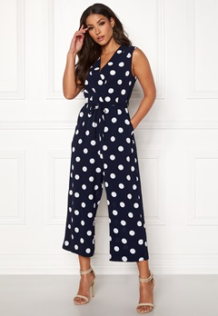 AX Paris Polka Dot Tie Jumpsuit Navy Bubbleroom.fi