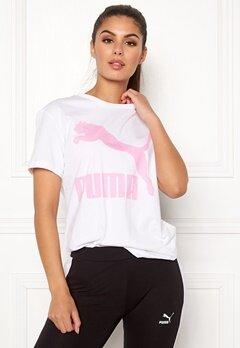 PUMA Classics Logo Tee 002 Wht/Pink Bubbleroom.fi