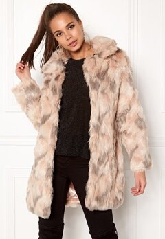 QED London Abstract Faux Fur Coat Abstract Blush Bubbleroom.fi
