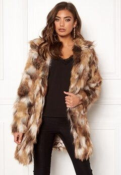 QED London Animal Faux Fur Coat Brown Bubbleroom.fi