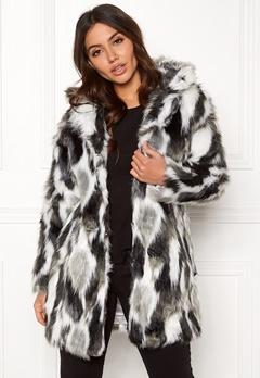 QED London Animal Faux Fur Coat Grey Bubbleroom.fi