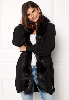 QED London Faux Fur Long Cardigan Black Bubbleroom.fi
