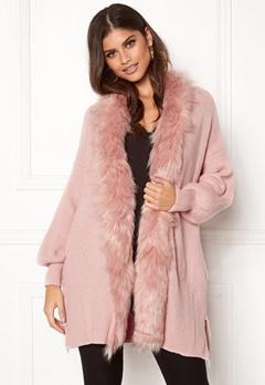 QED London Faux Fur Long Cardigan Pink Bubbleroom.fi
