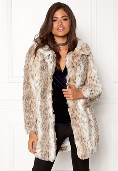 QED London Leopard Faux Fur Coat Snow Leopard Bubbleroom.fi