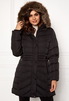 QED London Quilted Long Puffer Coat Black Bubbleroom.fi
