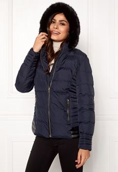 QED London Quilted Short Puffer Coat Navy Bubbleroom.fi
