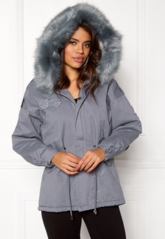 QED London Relaxed Parka Fur Hood Grey Bubbleroom.fi