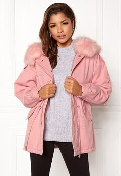 QED London Relaxed Parka Fur Hood Pink Bubbleroom.fi