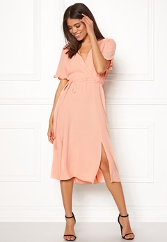 New Look Ram Tie Wrap Maxi Dress Shell Pink Bubbleroom.fi