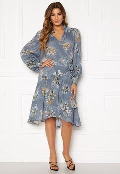 Ravn Cosima Wrap Dress Blue Flower Bubbleroom.fi