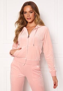 Juicy Couture Robertson Classic Velour Hoodie Pale Pink Bubbleroom.fi