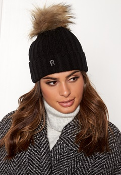 ROCKANDBLUE Hat Pom Pom Beanie Knit Black/Natural Bubbleroom.fi