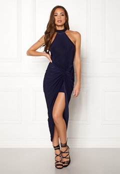 AX Paris Rouched Wrap Over Dress Navy Bubbleroom.fi