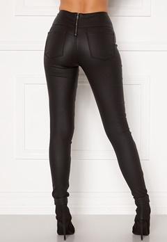 Pieces Roxy HW Zip Coated Leggings Black Bubbleroom.fi