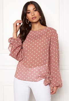Rut & Circle Dot Sleeve Open Blouse Old Rose Bubbleroom.fi