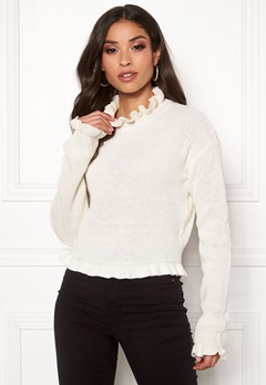 Rut & Circle Emelie Frill Knit White Bubbleroom.fi