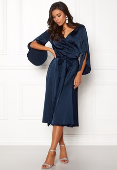 Rut & Circle Fab Wrap Long Dress Midnight Blue Bubbleroom.fi