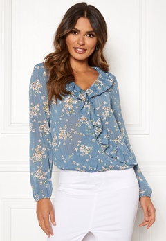 Rut & Circle Flower Frill Blouse Blue Combo Bubbleroom.fi