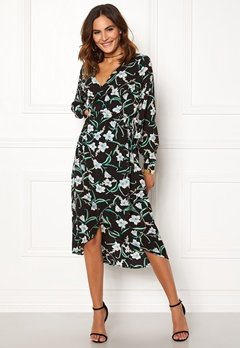 Rut & Circle Flower LS Wrap Dress Black Bubbleroom.fi