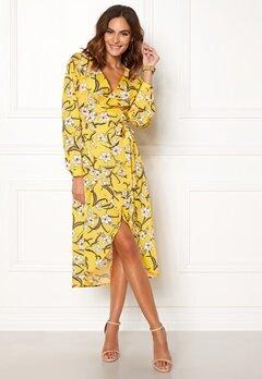 Rut & Circle Flower LS Wrap Dress Yellow Bubbleroom.fi