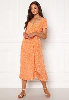 Rut & Circle Ida Wrap Dress Light Orange Dot Bubbleroom.fi