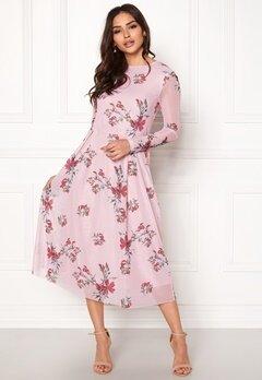 Rut & Circle Long Sleeve Mesh Dress Pink Bubbleroom.fi