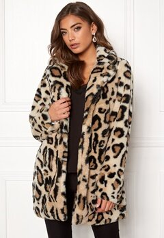 Rut & Circle Nova Faux Fur Leo Jacket Leopard Bubbleroom.fi