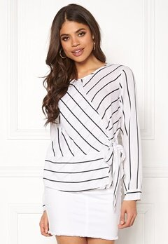 Rut & Circle Striped Knot Blouse White/Black Bubbleroom.fi