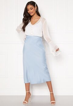 Sandra Willer X Bubbleroom Bias cut skirt Light blue Bubbleroom.fi
