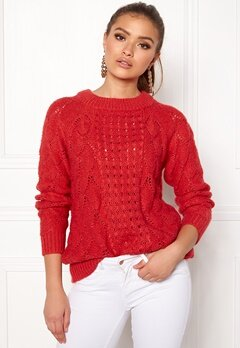 VILA Satira L/S Knit Top Tomato Puree Bubbleroom.fi