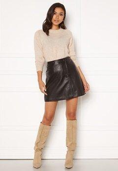 SELECTED FEMME Alberte MW Leather Skirt Black Bubbleroom.fi