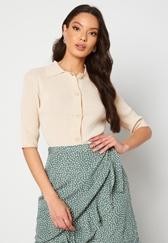 SELECTED FEMME Ally SS Knit Poloneck Sandshell Bubbleroom.fi