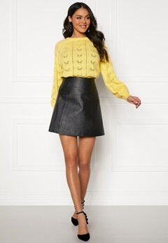 SELECTED FEMME Bobi MW Leather Skirt Black Bubbleroom.fi