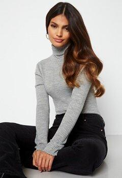 SELECTED FEMME Costina LS knit rib rollneck Light Grey Melange bubbleroom.fi