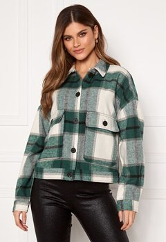 SELECTED FEMME Gia LS Overshirt Hunter Green Checks Bubbleroom.fi