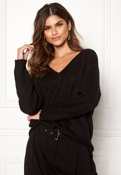 SELECTED FEMME Livana LS Knit V-neck Black Bubbleroom.fi