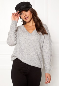 SELECTED FEMME Livana LS Knit V-neck Light Grey Melange Bubbleroom.fi