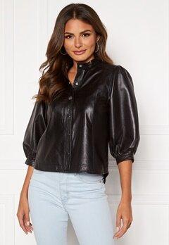 SELECTED FEMME Milla Leather Shirt Black Bubbleroom.fi