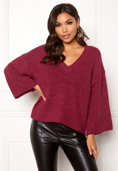 SELECTED FEMME Peri 7/8 Knit V-neck Beet Red Bubbleroom.fi