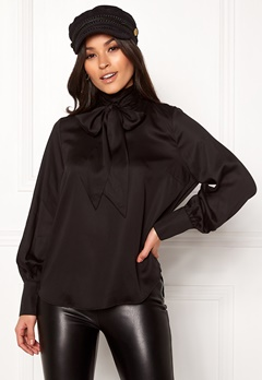 SELECTED FEMME Quinn LS Neck Tie Top Black Bubbleroom.fi