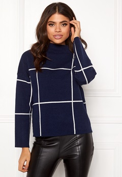 SELECTED FEMME Tess LS Knit T-Neck Blue Depths Bubbleroom.fi