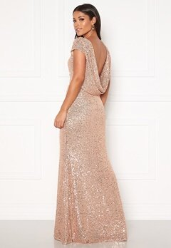 Goddiva Sequin Cowl Back Dress Champangne Bubbleroom.fi