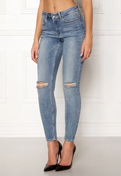 VERO MODA Seven MR Slim Jeans Medium Blue Denim Bubbleroom.fi