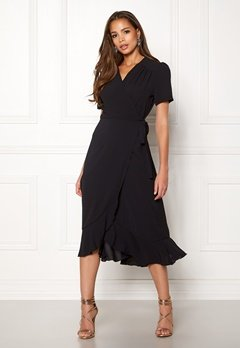 John Zack Short Sleeve Wrap Dress Black Bubbleroom.fi