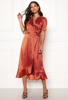 John Zack Short Sleeve Wrap Dress Rust Jacquard Bubbleroom.fi