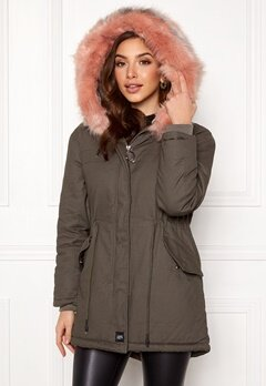 Sixth June Parkas Faux Fur Jacket Grey/Stone Pink Bubbleroom.fi