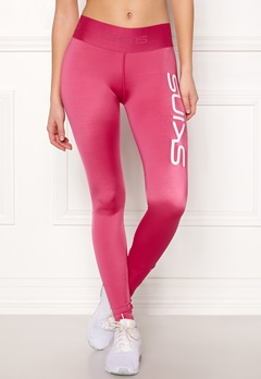 Skins Long Tights With Logo Pink Logo Bubbleroom.fi