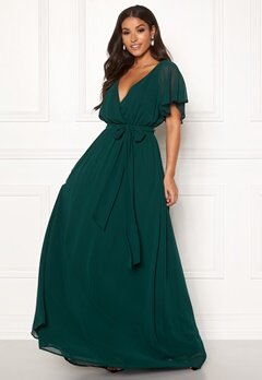 Goddiva Sleeve Chiffon Maxi Dress Green Bubbleroom.fi